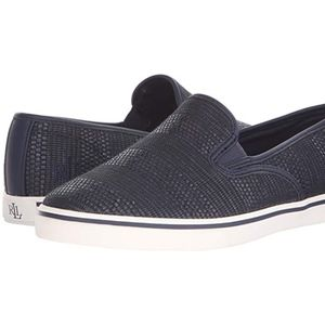 Ralph Lauren Janis navy blue slip on sneaker